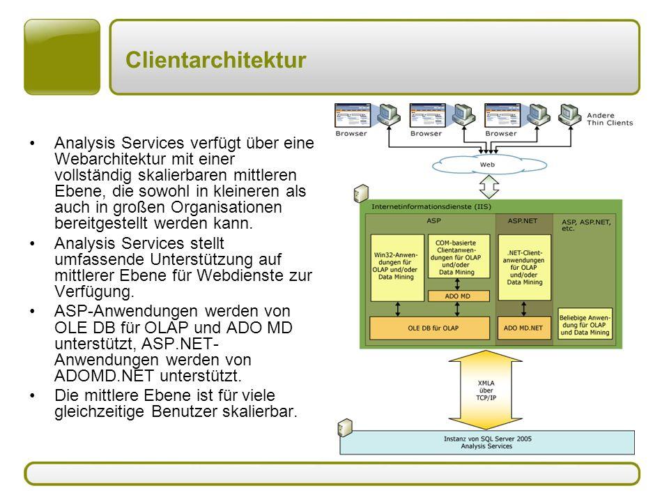 Clientarchitektur Analysis Services verfügt über eine Webarchitektur mit einer vollständig skalierbaren mittleren Ebene, die sowohl in kleineren als auch in großen Organisationen bereitgestellt werden kann.