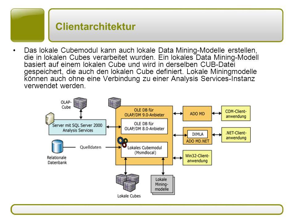 Clientarchitektur Das lokale Cubemodul kann auch lokale Data Mining-Modelle erstellen, die in lokalen Cubes verarbeitet wurden. Ein lokales Data Minin