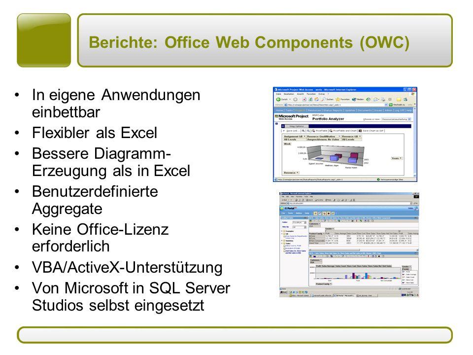 Berichte: Office Web Components (OWC) In eigene Anwendungen einbettbar Flexibler als Excel Bessere Diagramm- Erzeugung als in Excel Benutzerdefinierte Aggregate Keine Office-Lizenz erforderlich VBA/ActiveX-Unterstützung Von Microsoft in SQL Server Studios selbst eingesetzt