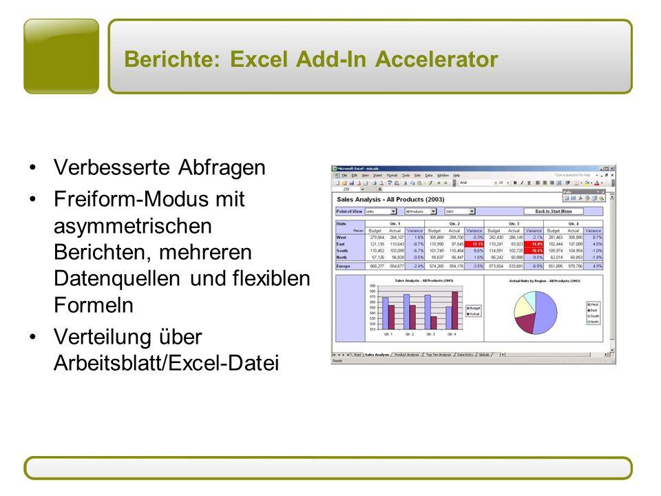 Berichte: Excel Add-In Accelerator Verbesserte Abfragen Freiform-Modus mit asymmetrischen Berichten, mehreren Datenquellen und flexiblen Formeln Verteilung über Arbeitsblatt/Excel-Datei