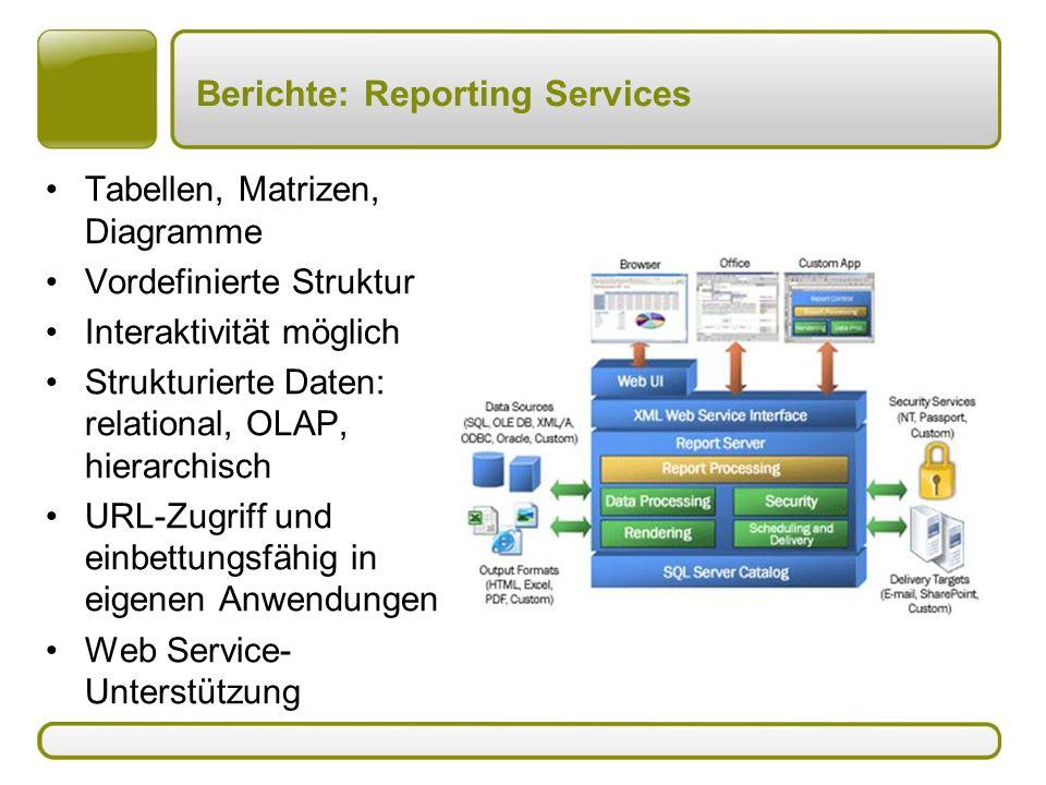 Berichte: Reporting Services Tabellen, Matrizen, Diagramme Vordefinierte Struktur Interaktivität möglich Strukturierte Daten: relational, OLAP, hierar