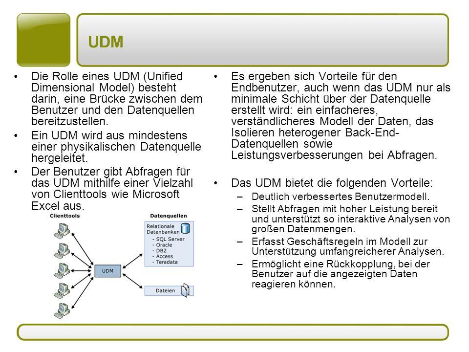 UDM Die Rolle eines UDM (Unified Dimensional Model) besteht darin, eine Brücke zwischen dem Benutzer und den Datenquellen bereitzustellen. Ein UDM wir