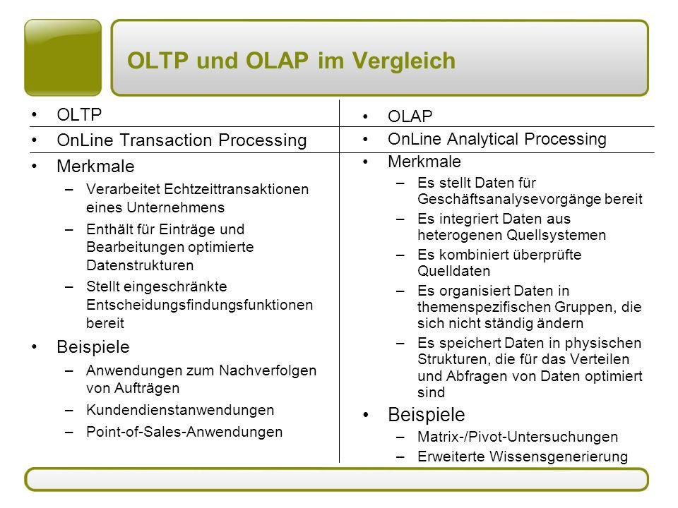 OLTP und OLAP im Vergleich OLTP OnLine Transaction Processing Merkmale –Verarbeitet Echtzeittransaktionen eines Unternehmens –Enthält für Einträge und Bearbeitungen optimierte Datenstrukturen –Stellt eingeschränkte Entscheidungsfindungsfunktionen bereit Beispiele –Anwendungen zum Nachverfolgen von Aufträgen –Kundendienstanwendungen –Point-of-Sales-Anwendungen OLAP OnLine Analytical Processing Merkmale –Es stellt Daten für Geschäftsanalysevorgänge bereit –Es integriert Daten aus heterogenen Quellsystemen –Es kombiniert überprüfte Quelldaten –Es organisiert Daten in themenspezifischen Gruppen, die sich nicht ständig ändern –Es speichert Daten in physischen Strukturen, die für das Verteilen und Abfragen von Daten optimiert sind Beispiele –Matrix-/Pivot-Untersuchungen –Erweiterte Wissensgenerierung