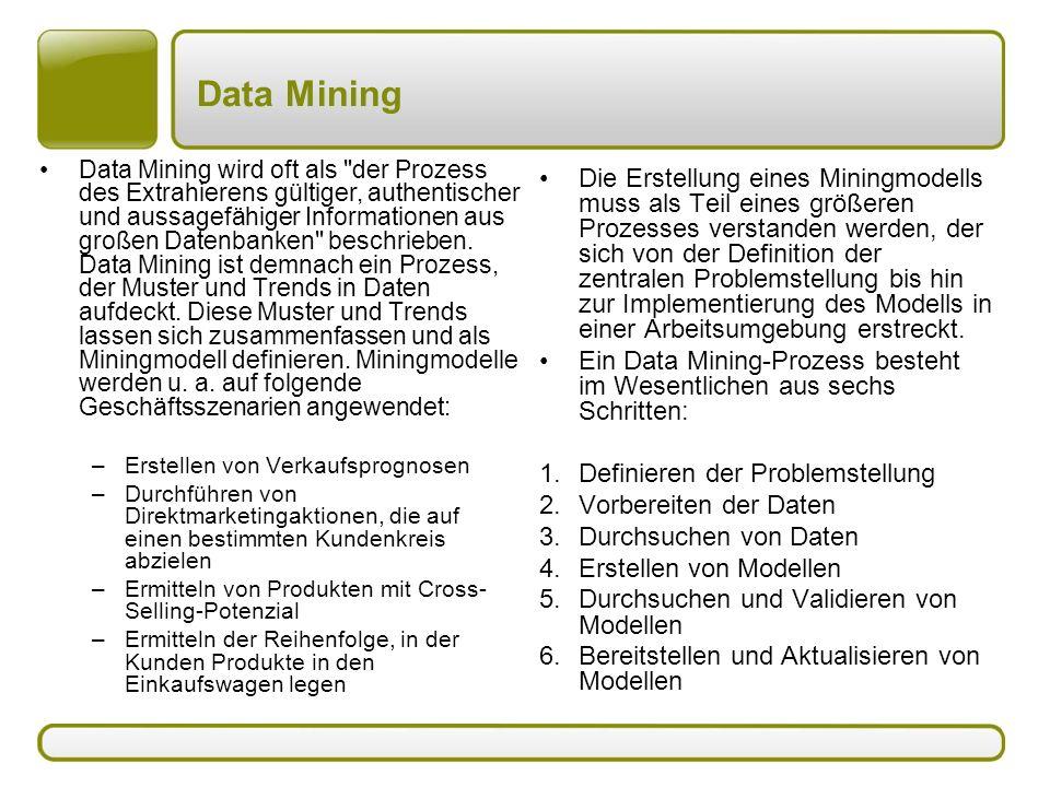 Data Mining Data Mining wird oft als der Prozess des Extrahierens gültiger, authentischer und aussagefähiger Informationen aus großen Datenbanken beschrieben.