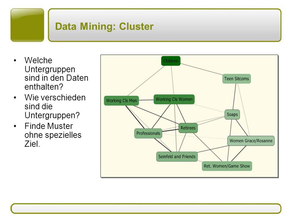 Data Mining: Cluster Welche Untergruppen sind in den Daten enthalten? Wie verschieden sind die Untergruppen? Finde Muster ohne spezielles Ziel.