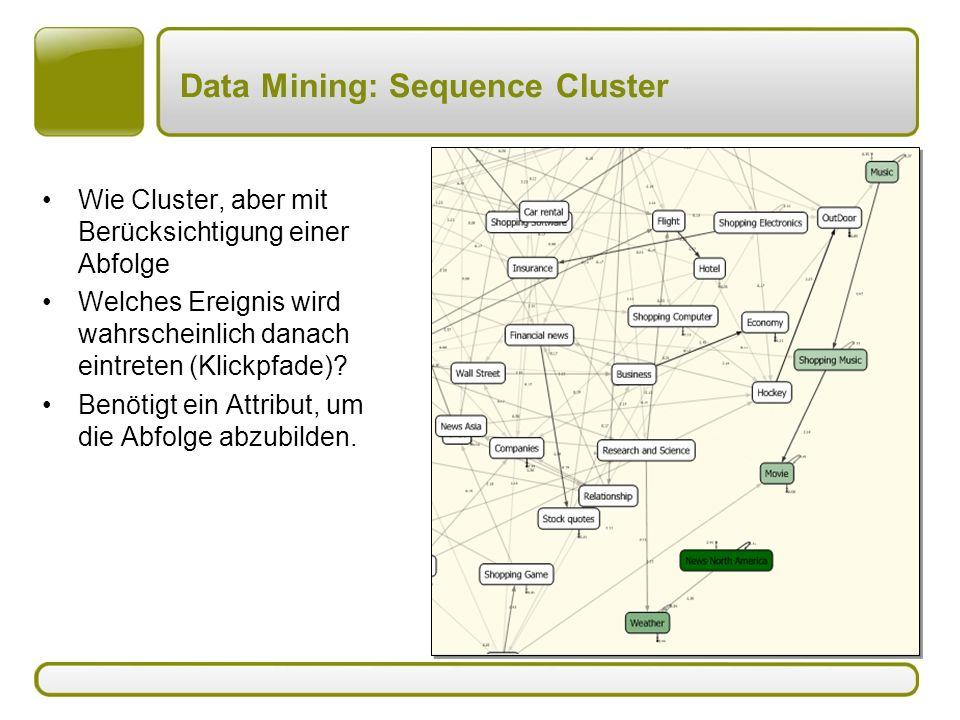 Data Mining: Sequence Cluster Wie Cluster, aber mit Berücksichtigung einer Abfolge Welches Ereignis wird wahrscheinlich danach eintreten (Klickpfade)?