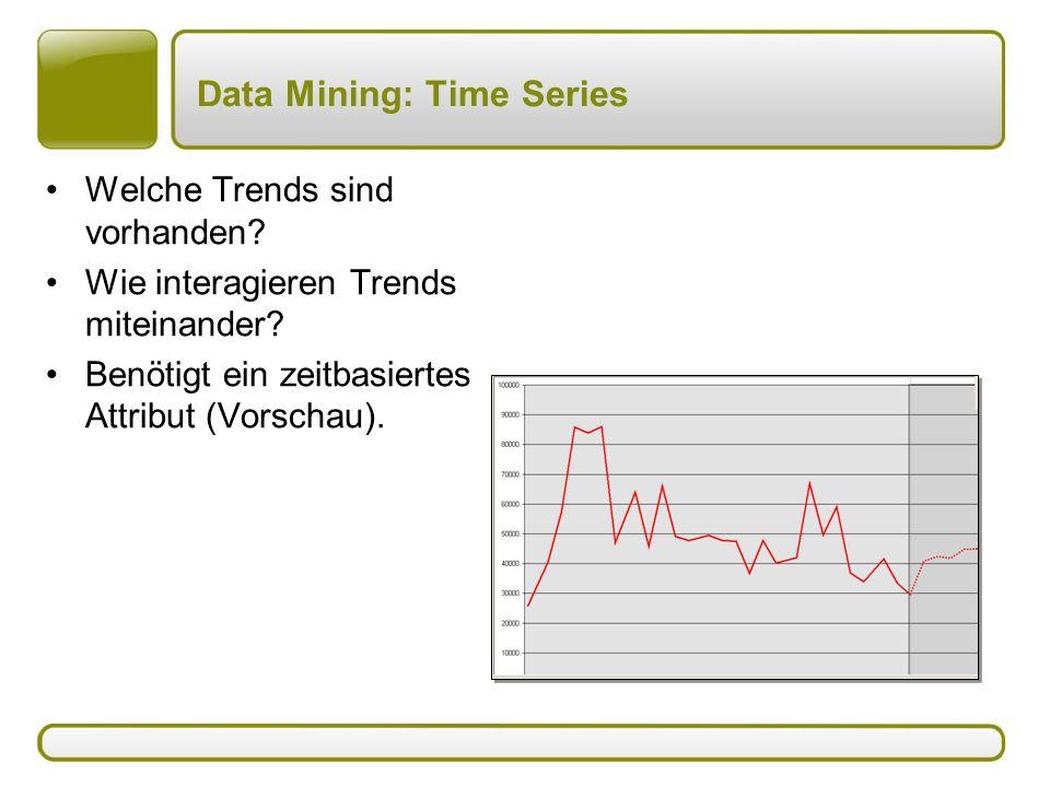 Data Mining: Time Series Welche Trends sind vorhanden? Wie interagieren Trends miteinander? Benötigt ein zeitbasiertes Attribut (Vorschau).