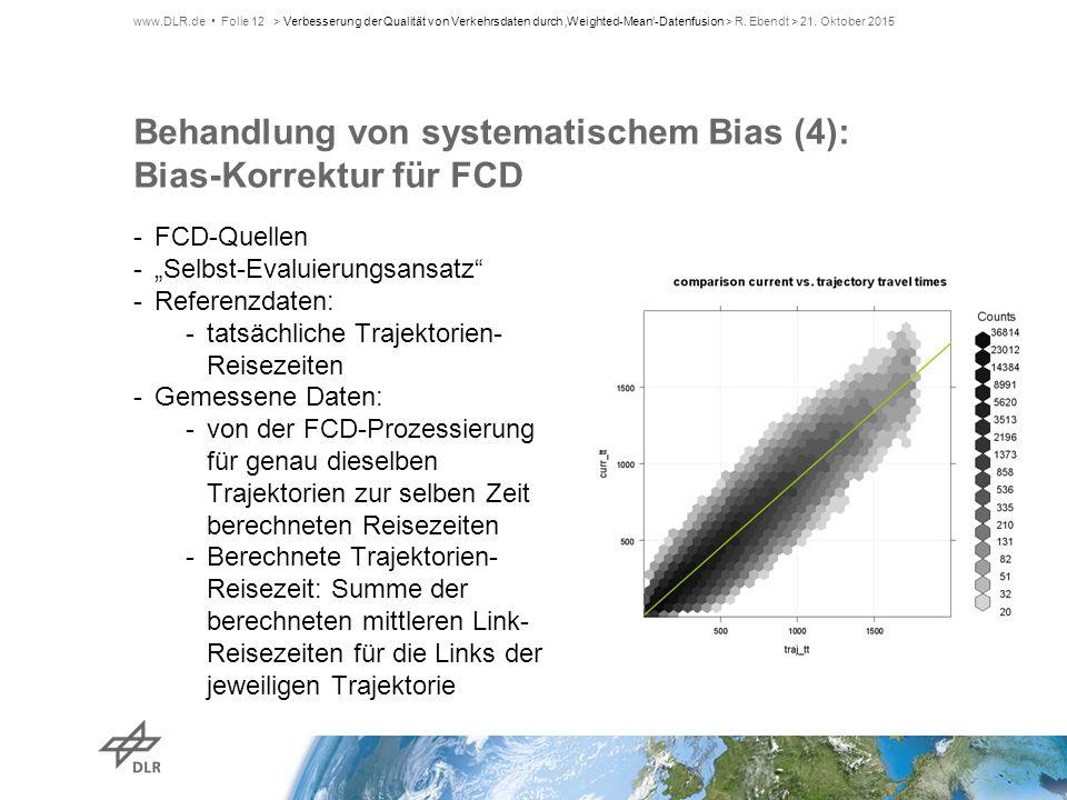 """Behandlung von systematischem Bias (4): Bias-Korrektur für FCD -FCD-Quellen -""""Selbst-Evaluierungsansatz"""" -Referenzdaten: -tatsächliche Trajektorien- R"""