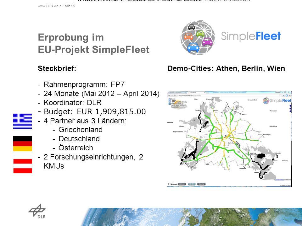 Steckbrief: Demo-Cities: Athen, Berlin, Wien Erprobung im EU-Projekt SimpleFleet -Rahmenprogramm: FP7 -24 Monate (Mai 2012 – April 2014) -Koordinator: