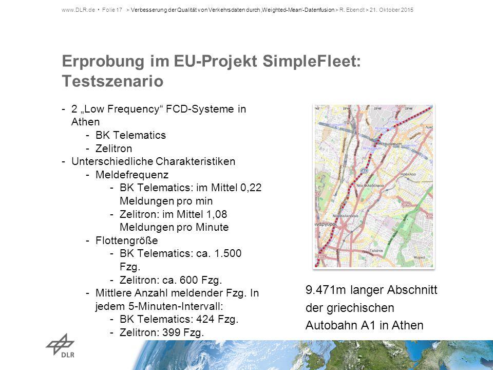 """Erprobung im EU-Projekt SimpleFleet: Testszenario -2 """"Low Frequency"""" FCD-Systeme in Athen -BK Telematics -Zelitron -Unterschiedliche Charakteristiken"""