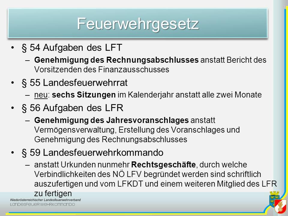 FeuerwehrgesetzFeuerwehrgesetz § 54 Aufgaben des LFT –Genehmigung des Rechnungsabschlusses anstatt Bericht des Vorsitzenden des Finanzausschusses § 55