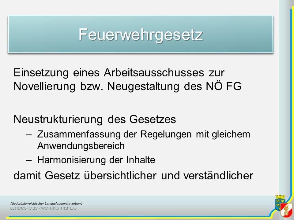 FeuerwehrgesetzFeuerwehrgesetz Einsetzung eines Arbeitsausschusses zur Novellierung bzw. Neugestaltung des NÖ FG Neustrukturierung des Gesetzes –Zusam