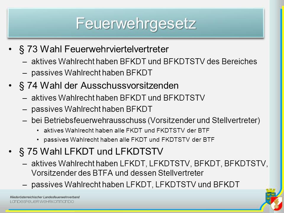 FeuerwehrgesetzFeuerwehrgesetz § 73 Wahl Feuerwehrviertelvertreter –aktives Wahlrecht haben BFKDT und BFKDTSTV des Bereiches –passives Wahlrecht haben