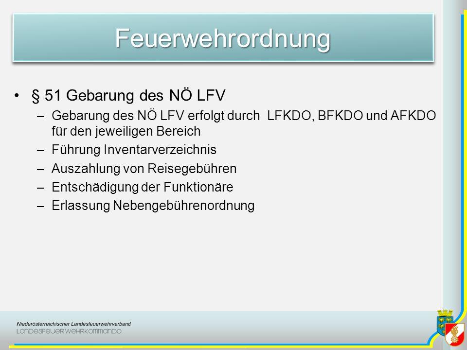 FeuerwehrordnungFeuerwehrordnung § 51 Gebarung des NÖ LFV –Gebarung des NÖ LFV erfolgt durch LFKDO, BFKDO und AFKDO für den jeweiligen Bereich –Führun