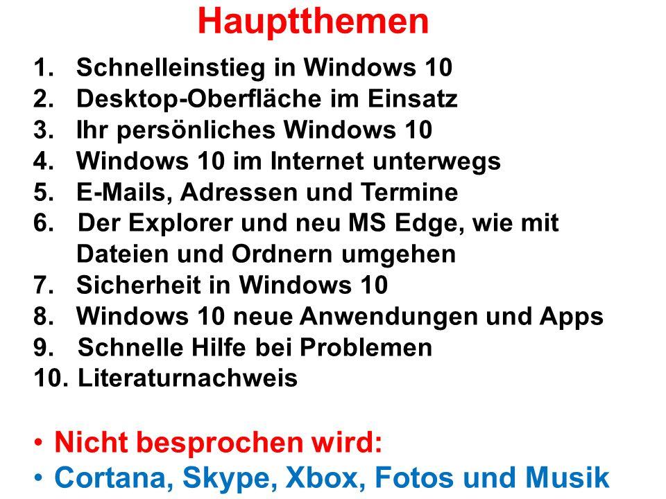 Hauptthemen 1. Schnelleinstieg in Windows 10 2. Desktop-Oberfläche im Einsatz 3.