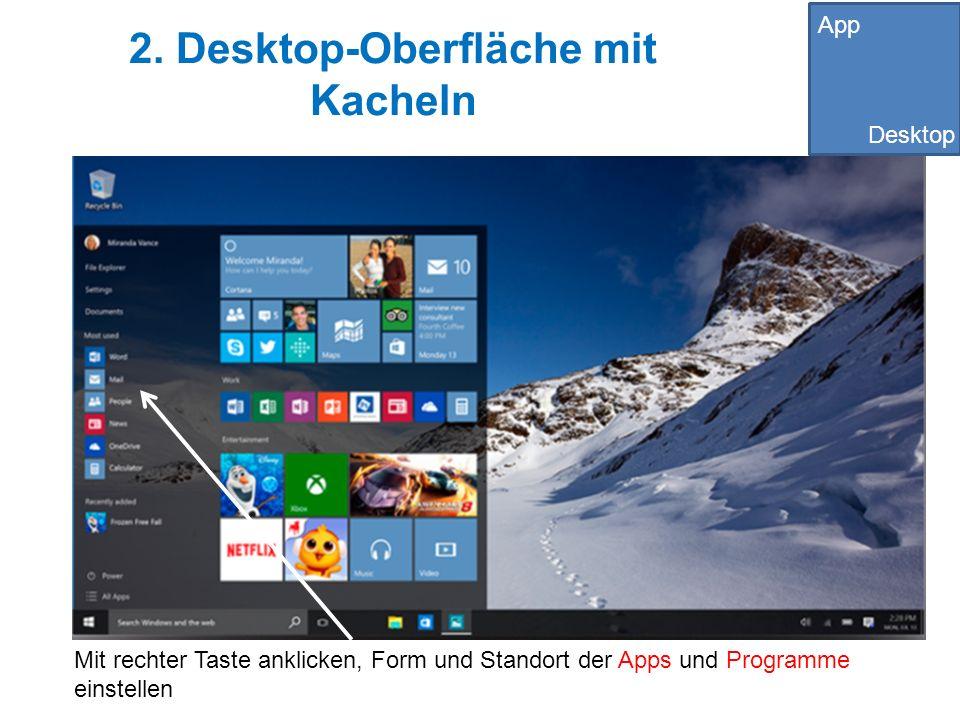 2. Desktop-Oberfläche mit Kacheln Mit rechter Taste anklicken, Form und Standort der Apps und Programme einstellen App Desktop
