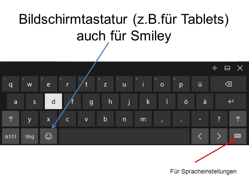 Bildschirmtastatur (z.B.für Tablets) auch für Smiley Für Spracheinstellungen