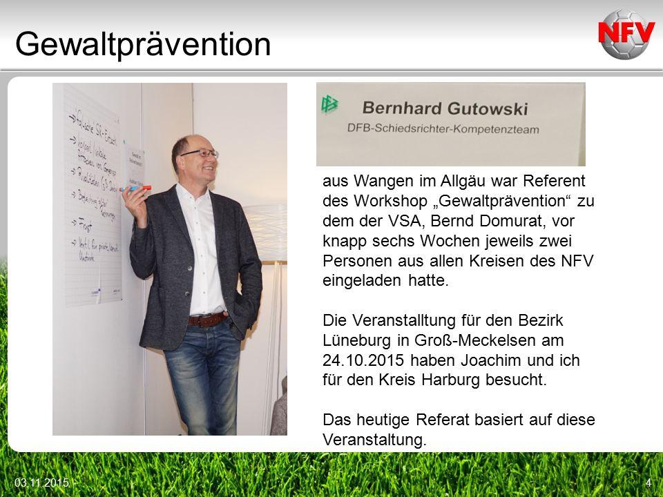 """Gewaltprävention 03.11.20154 aus Wangen im Allgäu war Referent des Workshop """"Gewaltprävention zu dem der VSA, Bernd Domurat, vor knapp sechs Wochen jeweils zwei Personen aus allen Kreisen des NFV eingeladen hatte."""
