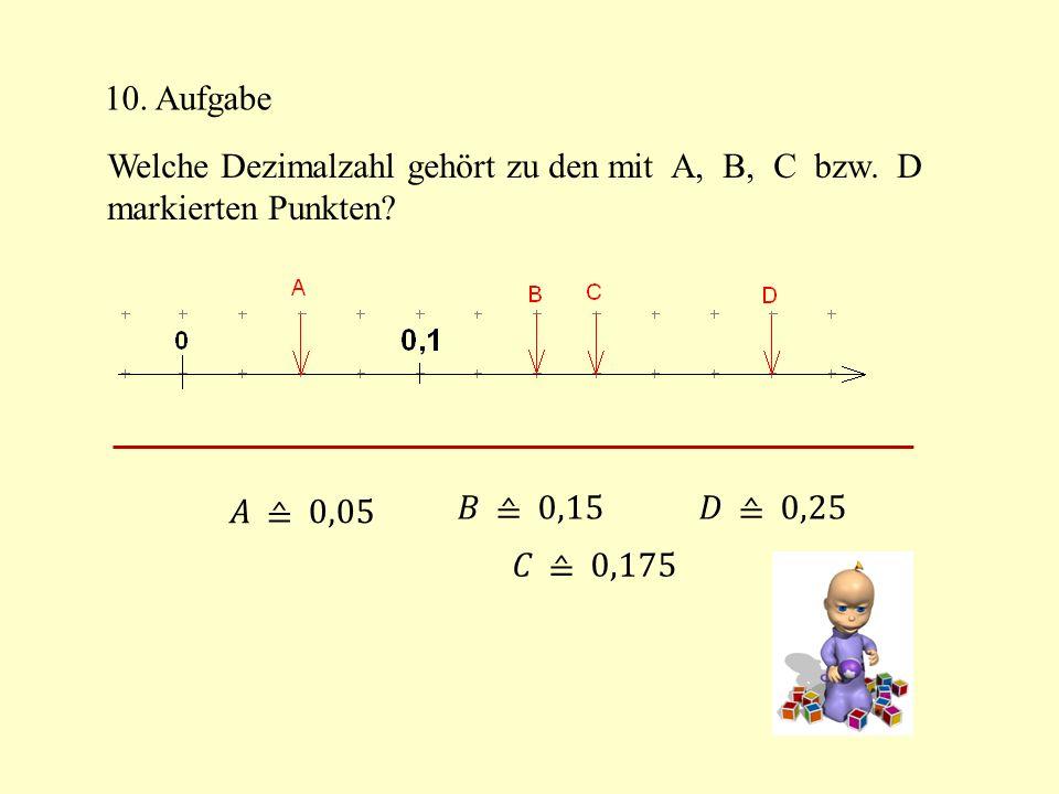 10. Aufgabe Welche Dezimalzahl gehört zu den mit A, B, C bzw. D markierten Punkten?