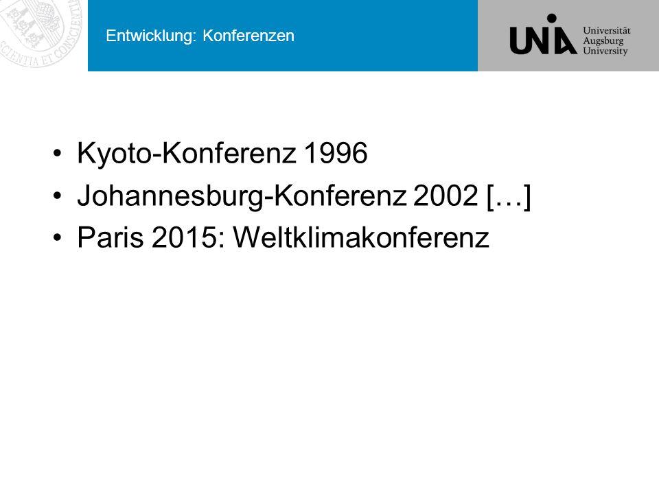 Entwicklung: Konferenzen Kyoto-Konferenz 1996 Johannesburg-Konferenz 2002 […] Paris 2015: Weltklimakonferenz