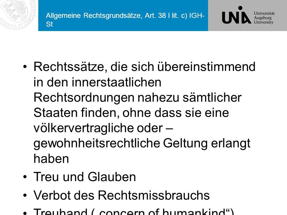 Allgemeine Rechtsgrundsätze, Art.38 I lit.