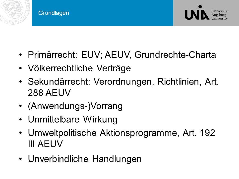 Grundlagen Primärrecht: EUV; AEUV, Grundrechte-Charta Völkerrechtliche Verträge Sekundärrecht: Verordnungen, Richtlinien, Art.