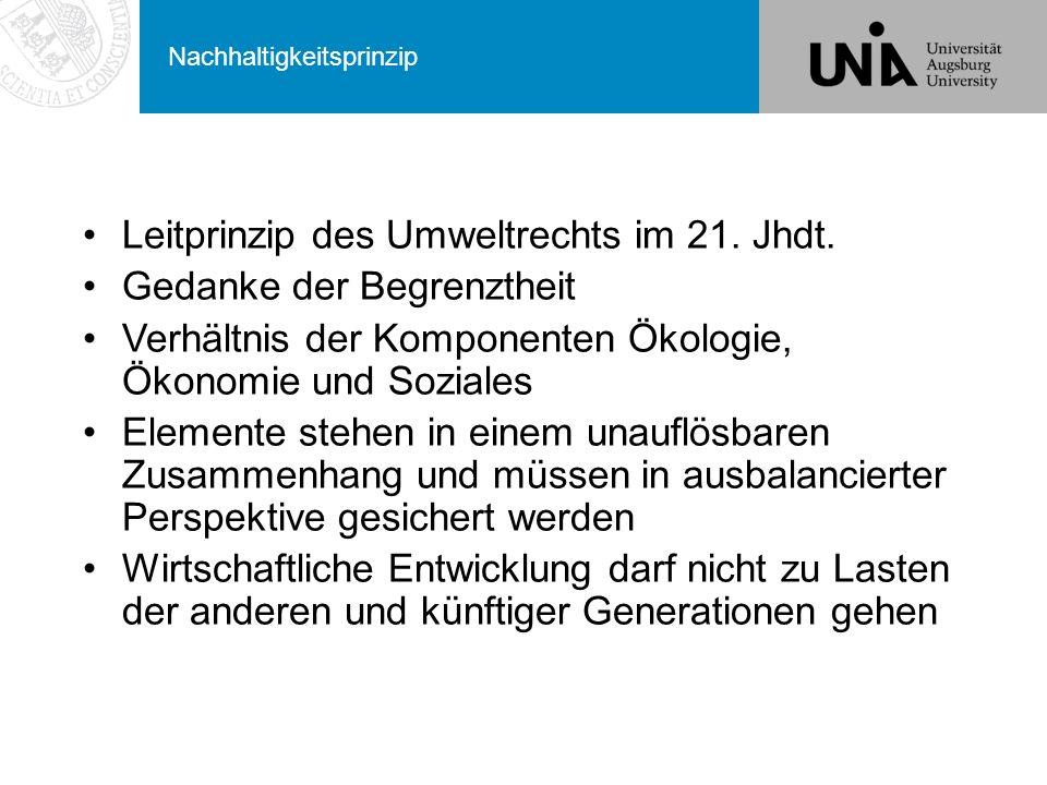Nachhaltigkeitsprinzip Leitprinzip des Umweltrechts im 21.