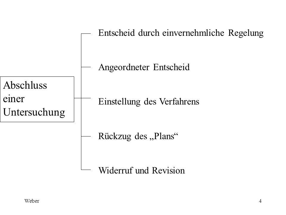 """Weber4 Abschluss einer Untersuchung Entscheid durch einvernehmliche Regelung Angeordneter Entscheid Einstellung des Verfahrens Rückzug des """"Plans Widerruf und Revision"""