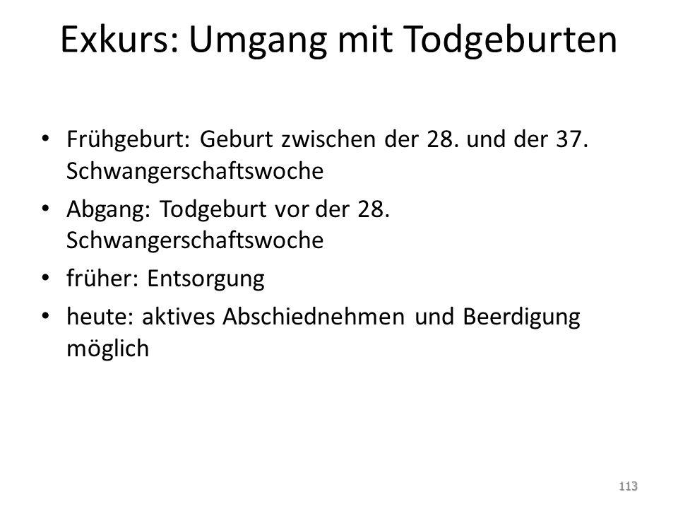 Exkurs: Umgang mit Todgeburten Frühgeburt: Geburt zwischen der 28.