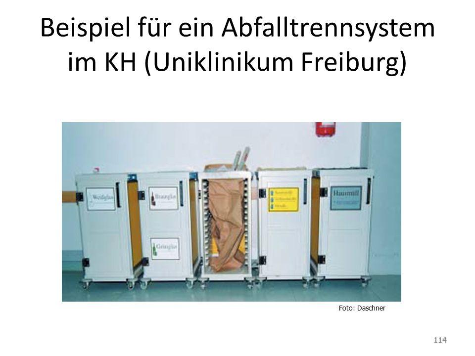 Beispiel für ein Abfalltrennsystem im KH (Uniklinikum Freiburg) 114 Foto: Daschner