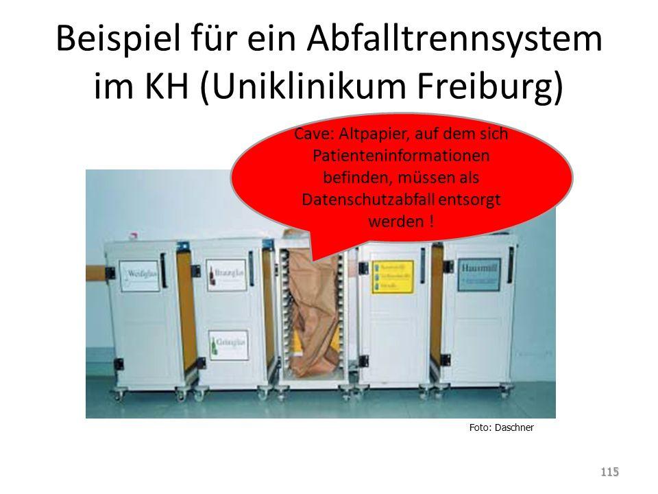 Beispiel für ein Abfalltrennsystem im KH (Uniklinikum Freiburg) 115 Foto: Daschner Cave: Altpapier, auf dem sich Patienteninformationen befinden, müssen als Datenschutzabfall entsorgt werden !
