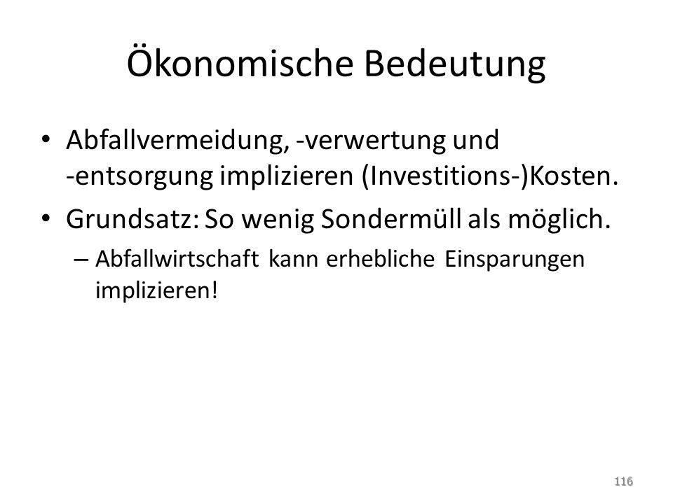 Ökonomische Bedeutung Abfallvermeidung, -verwertung und -entsorgung implizieren (Investitions-)Kosten.