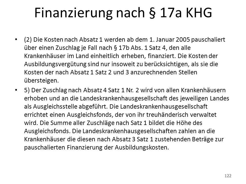 Finanzierung nach § 17a KHG (2) Die Kosten nach Absatz 1 werden ab dem 1.