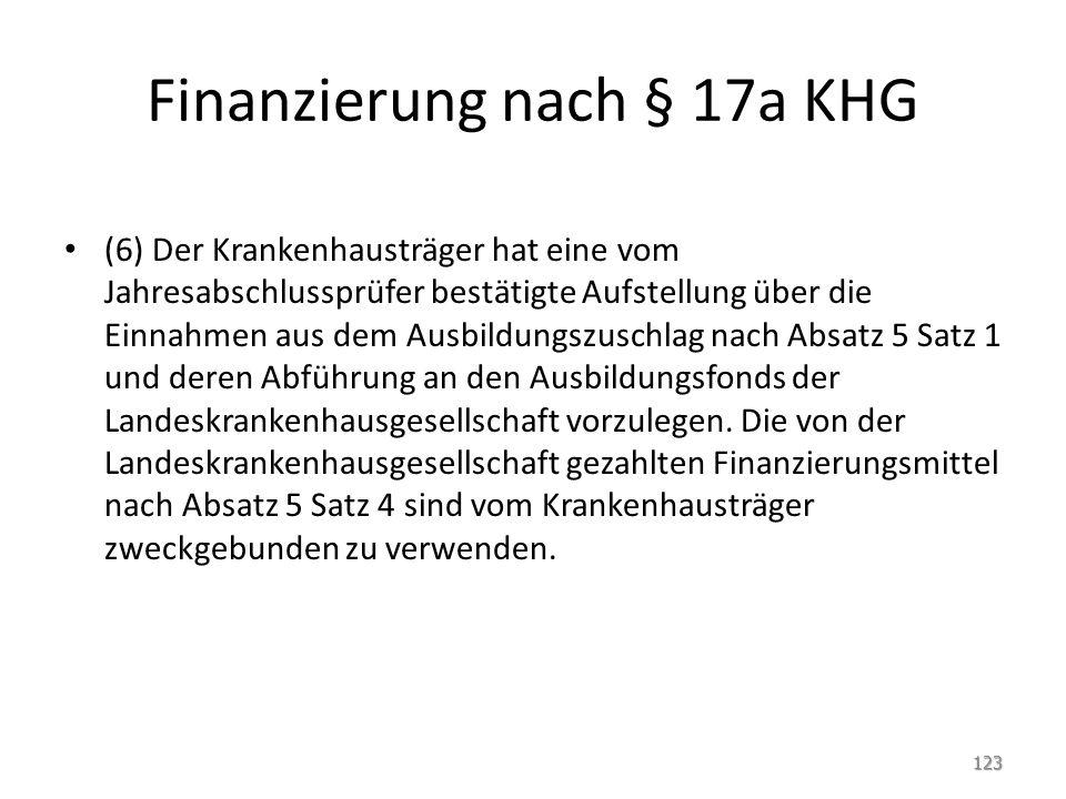 Finanzierung nach § 17a KHG (6) Der Krankenhausträger hat eine vom Jahresabschlussprüfer bestätigte Aufstellung über die Einnahmen aus dem Ausbildungszuschlag nach Absatz 5 Satz 1 und deren Abführung an den Ausbildungsfonds der Landeskrankenhausgesellschaft vorzulegen.