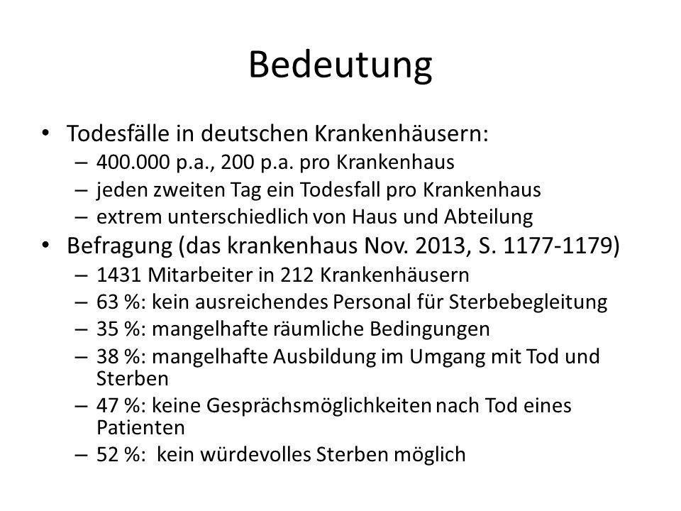 Bedeutung Todesfälle in deutschen Krankenhäusern: – 400.000 p.a., 200 p.a.
