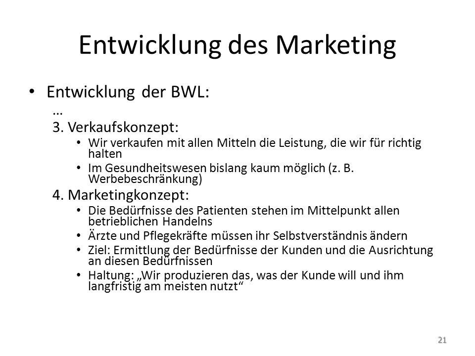 Entwicklung des Marketing Entwicklung der BWL: … 3.