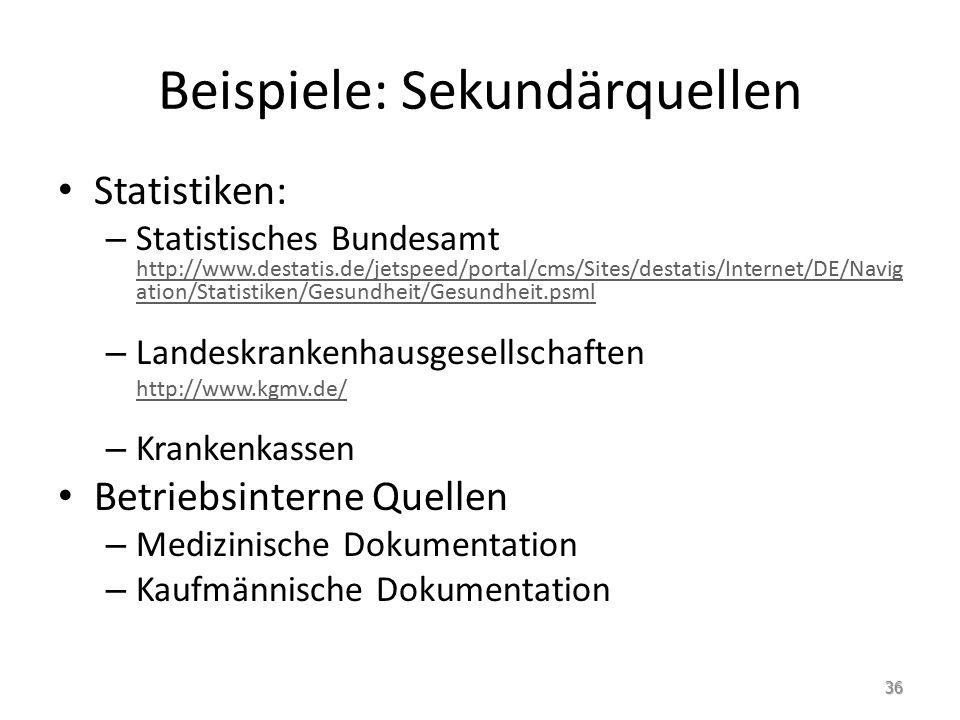 Beispiele: Sekundärquellen Statistiken: – Statistisches Bundesamt http://www.destatis.de/jetspeed/portal/cms/Sites/destatis/Internet/DE/Navig ation/Statistiken/Gesundheit/Gesundheit.psml http://www.destatis.de/jetspeed/portal/cms/Sites/destatis/Internet/DE/Navig ation/Statistiken/Gesundheit/Gesundheit.psml – Landeskrankenhausgesellschaften http://www.kgmv.de/ – Krankenkassen Betriebsinterne Quellen – Medizinische Dokumentation – Kaufmännische Dokumentation 36