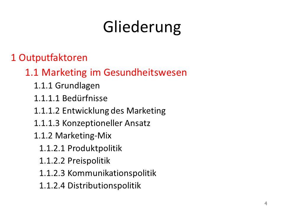 Gliederung 1 Outputfaktoren 1.1 Marketing im Gesundheitswesen 1.1.1 Grundlagen 1.1.1.1 Bedürfnisse 1.1.1.2 Entwicklung des Marketing 1.1.1.3 Konzeptioneller Ansatz 1.1.2 Marketing-Mix 1.1.2.1 Produktpolitik 1.1.2.2 Preispolitik 1.1.2.3 Kommunikationspolitik 1.1.2.4 Distributionspolitik 4