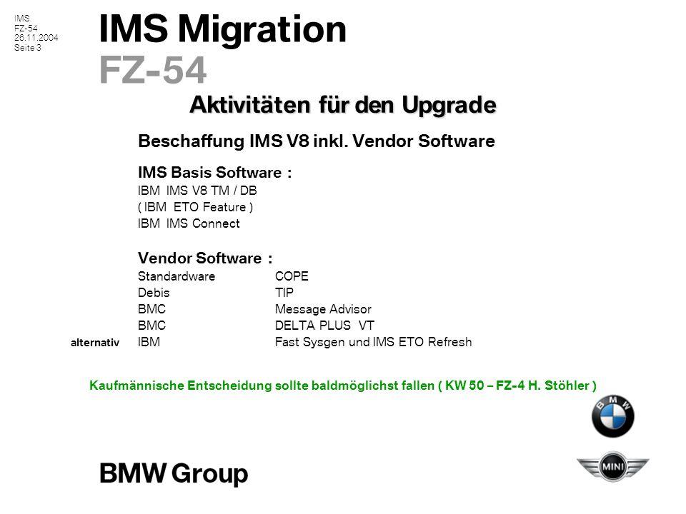 IMS FZ-54 26.11.2004 Seite 4 IMS Migration FZ-54 Übersicht der IMS Schittstellen IMS ListenerAnsprechpartner : H.