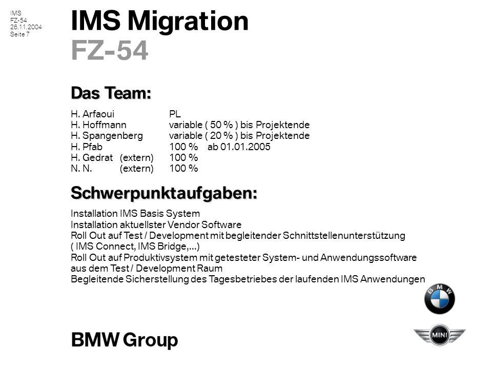 IMS FZ-54 26.11.2004 Seite 8 IMS Migration FZ-54 Beteiligte Abteilungen : FZ–32: IMS Tagesgeschäft ( Betrieb und Bereitschaft ) H.