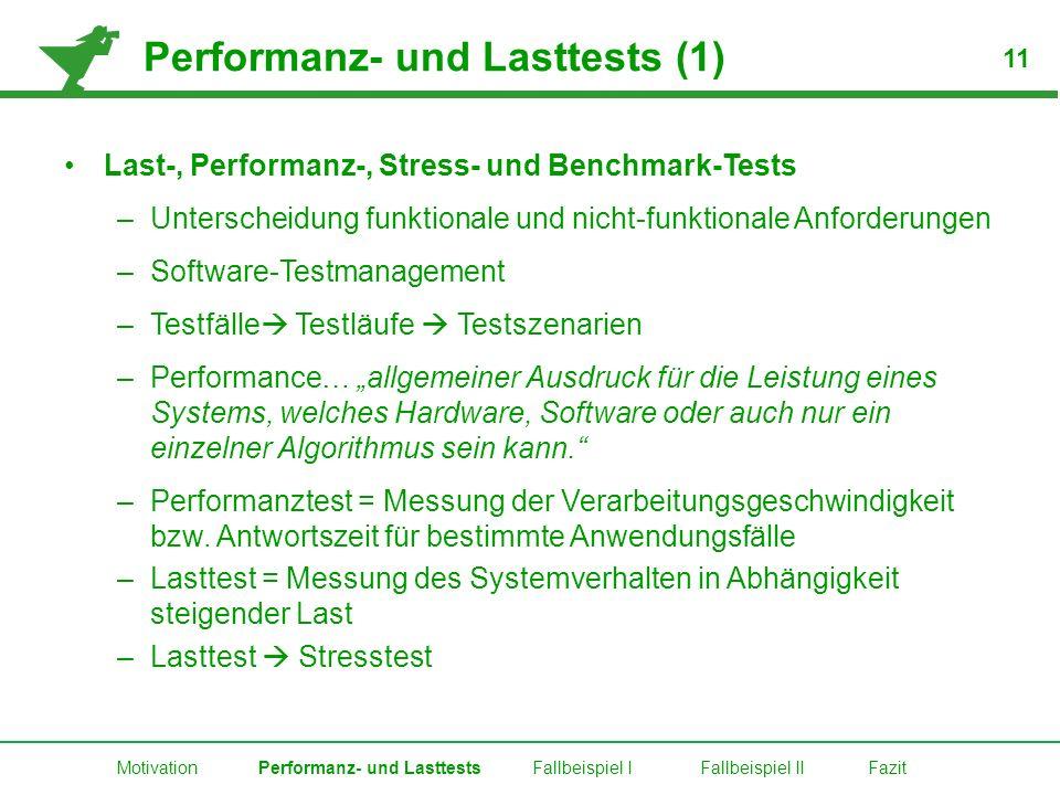 Performanz- und Lasttests (1) Last-, Performanz-, Stress- und Benchmark-Tests –Unterscheidung funktionale und nicht-funktionale Anforderungen –Softwar