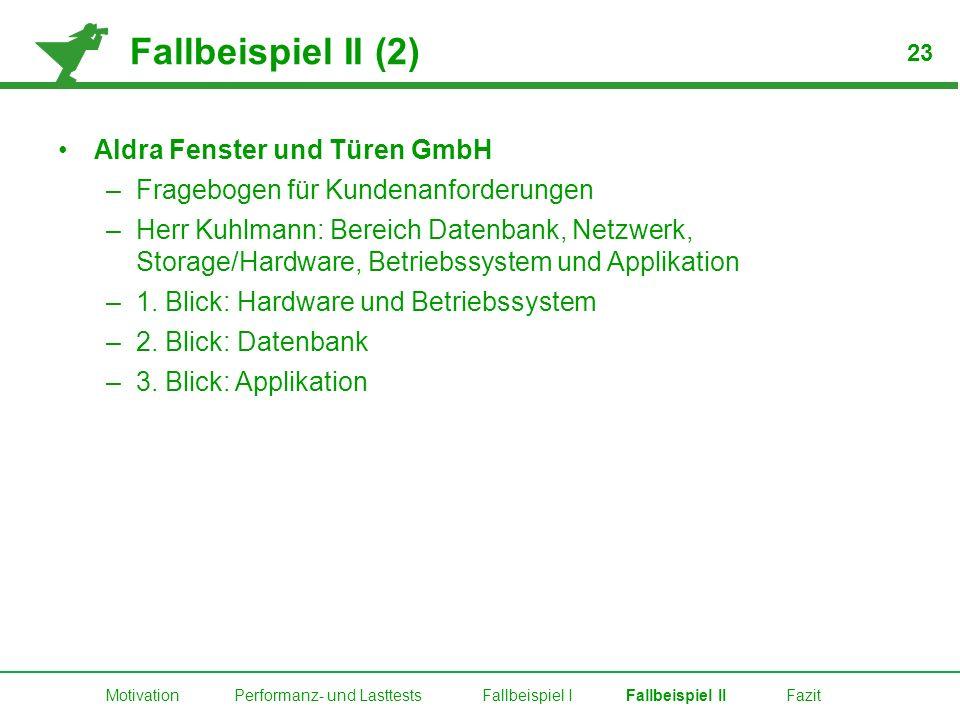 Fallbeispiel II (2) Aldra Fenster und Türen GmbH –Fragebogen für Kundenanforderungen –Herr Kuhlmann: Bereich Datenbank, Netzwerk, Storage/Hardware, Be