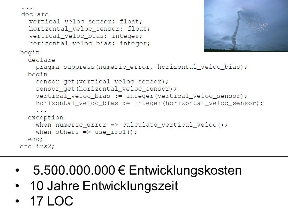 5.500.000.000 € Entwicklungskosten 10 Jahre Entwicklungszeit 17 LOC