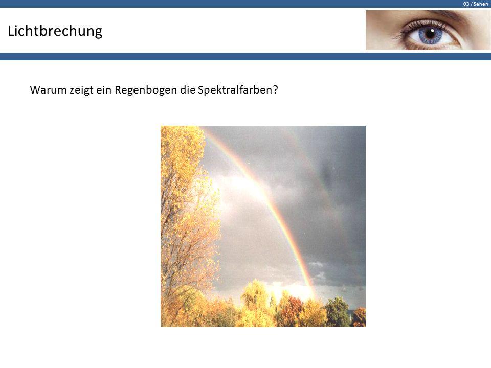 03 / Sehen Lichtbrechung Warum zeigt ein Regenbogen die Spektralfarben?