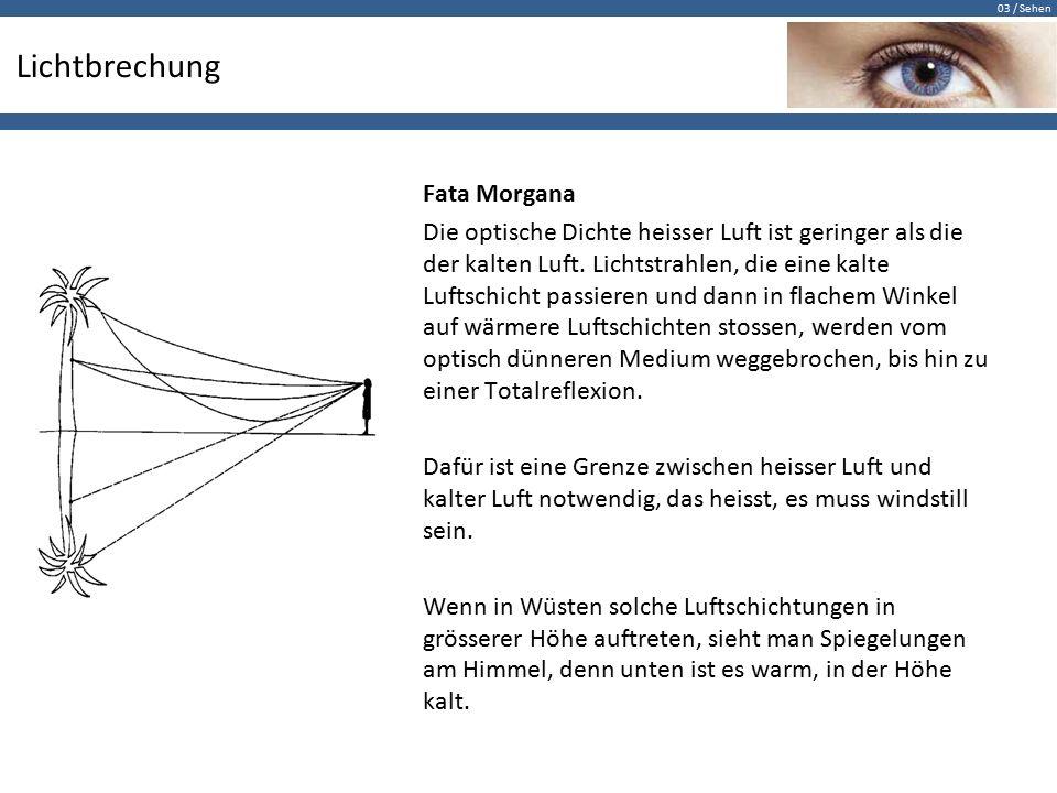 03 / Sehen Lichtbrechung Fata Morgana Die optische Dichte heisser Luft ist geringer als die der kalten Luft.