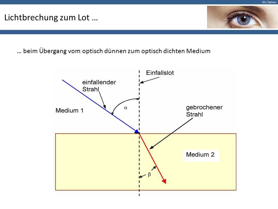 03 / Sehen Lichtbrechung zum Lot Experiment: Animiere den Durchgang eines Lichtstrahls durch eine Glasscheibe.