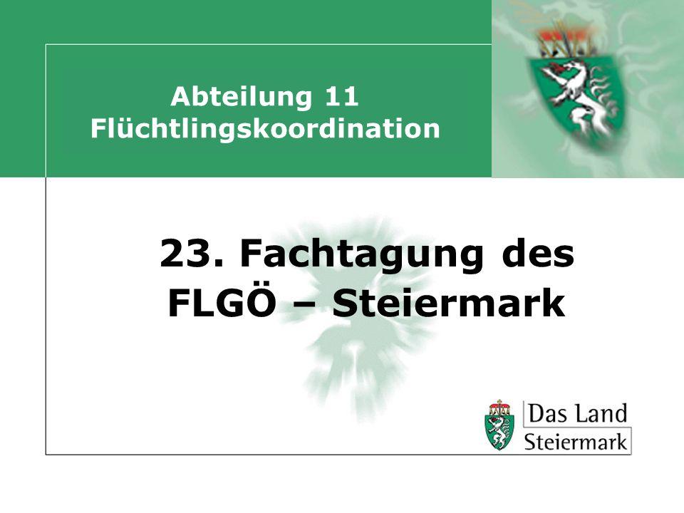 Abteilung 11 Flüchtlingskoordination 23. Fachtagung des FLGÖ – Steiermark