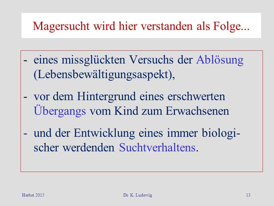 Herbst 2015Dr. K. Ludewig13 Magersucht wird hier verstanden als Folge... -eines missglückten Versuchs der Ablösung (Lebensbewältigungsaspekt), -vor de
