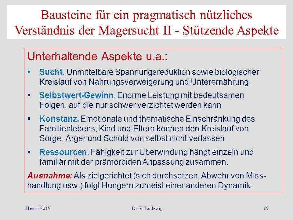 Herbst 2015Dr. K. Ludewig15 Unterhaltende Aspekte u.a.:  Sucht. Unmittelbare Spannungsreduktion sowie biologischer Kreislauf von Nahrungsverweigerung