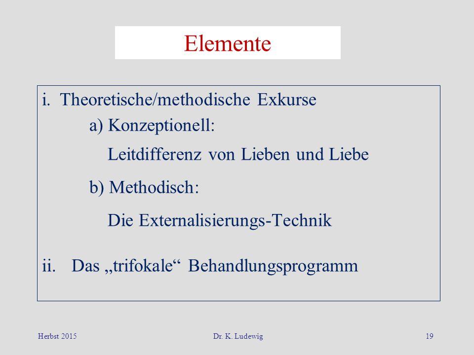 """i. Theoretische/methodische Exkurse a) Konzeptionell: Leitdifferenz von Lieben und Liebe b) Methodisch: Die Externalisierungs-Technik ii.Das """"trifokal"""